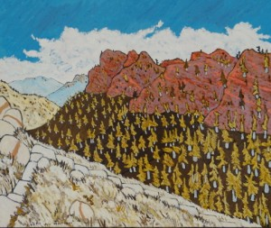 485. Red Reef Trail 8/12, Landscape Paintings by Artist Robert Wassell