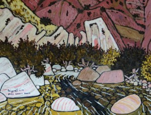 504. Piru Gorge Trail 1/13, Landscape Paintings by Artist Robert Wassell