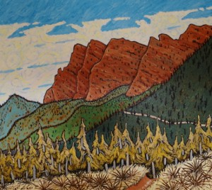 508. Red Reef Trail 1/13, Landscape Paintings by Artist Robert Wassell